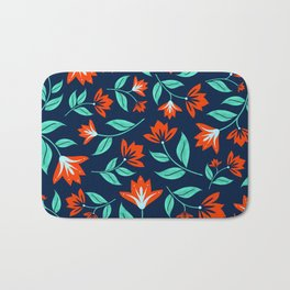 Japanese Floral Print - Red and Navy Blue Bath Mat