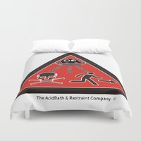 aliens Duvet Covers featuring Aliens Attacks by The AcidBath and Restraint Company