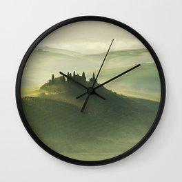 Foggy morning in Toscany Wall Clock