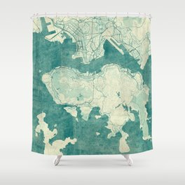 Hong Kong Map Blue Vintage Shower Curtain
