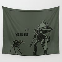 halo Wall Tapestries featuring Sit.  Good boy.  |  Halo by Canis Picta
