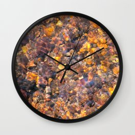 Clear Water Flows Over Golden Brown Pebbles Stream Abstract Wall Clock