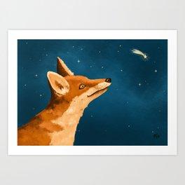 Fox and Stars Art Print