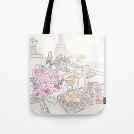 Paris Rooftop Picnic with French Bulldog and Black Cat Tote Bag