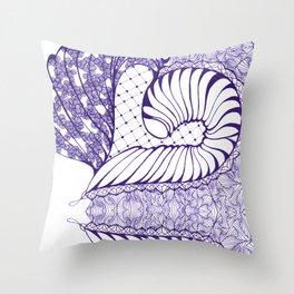Blue Wash Art Deco Doodle Design Throw Pillow