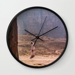 Arab Landscape | Man Walking in the Distance of the Red Cliffs Exotic Desert Wall Clock
