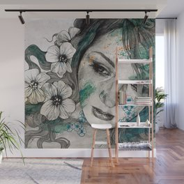 Cleopatra's Sling (flower tattoo lady portrait drawing) Wall Mural