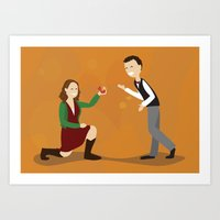woman proposes to man Art Print