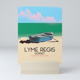 "Lyme Regis,Dorset ""it's more fun by train"" Mini Art Print"