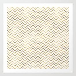 Glam Gold and White Chevron Stripes Art Print