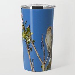 Palm Warbler on Top of Flowering Tree Travel Mug