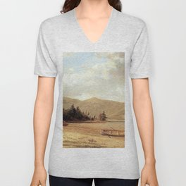 View Of Dresden Lake George 1874 By David Johnson | Reproduction | Romanticism Landscape Painter Unisex V-Neck