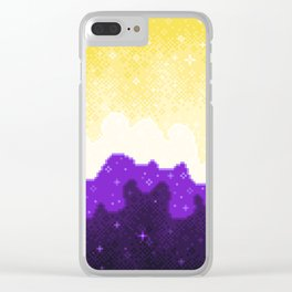 Nonbinary Pride Flag Galaxy Clear iPhone Case