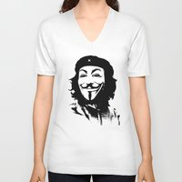 che V-neck T-shirts featuring Expect Che by rubbishmonkey