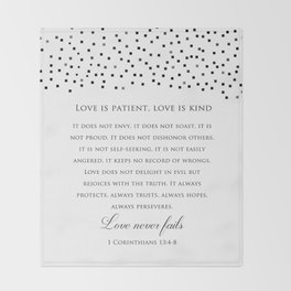 1 Corinthians 13:8 - Love Never Fails - Marriage Bible Wedding Verse Art Print Throw Blanket