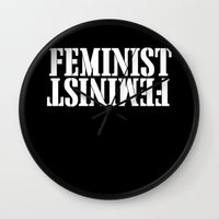 feminist Wall Clocks featuring Feminist by Retro Designs