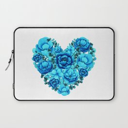 Elegant Floral Heart in Blue Hues Laptop Sleeve