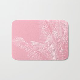 Millennial Pink illumination of Heart White Tropical Palm Hawaii Bath Mat