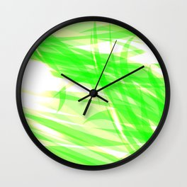 Green and smooth sparkling lines of light green ribbons on the theme of space and abstraction. Wall Clock