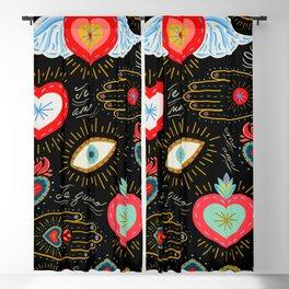 Milagro Love Hearts - Black Blackout Curtain