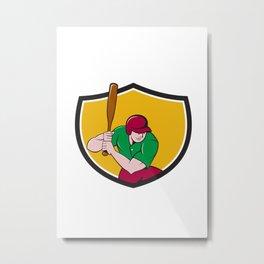 Baseball Player Batting Shield Cartoon Metal Print