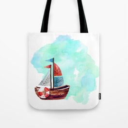 Ship in the Watercolor Tote Bag