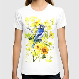 BLue Jay and Yellow Flowers T-shirt