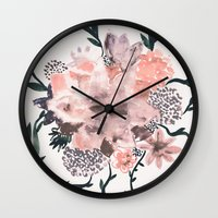 kpop Wall Clocks featuring Summer Flowers by Georgiana Paraschiv
