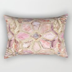 Geometric Gilded Stone Tiles in Blush Pink, Peach and Coral Rectangular Pillow