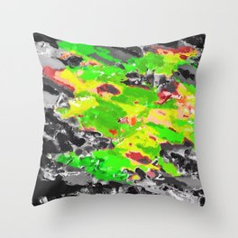 psychedelic splash painting abstract texture in in green yellow black Throw Pillow