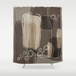 Retro Block Design in Ivory and Taupe Shower Curtain