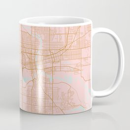Pink and gold Des Moines map, Iowa Coffee Mug