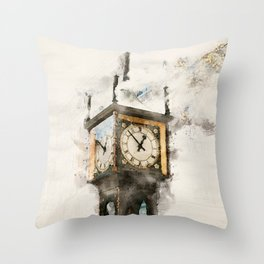 Vancouver Steam Clock Throw Pillow