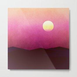 Setting Sun Over The Desert Metal Print