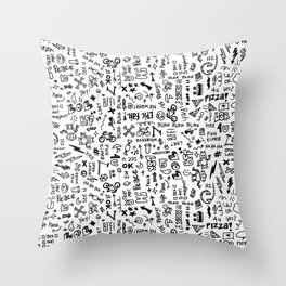 Passing Notes in Class // Old School Handwriting and Doodle Drawings in Black & White Throw Pillow