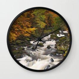 I - River through autumn colours at the Hermitage, Scotland Wall Clock