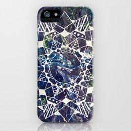 White Mandala on Purple Fluid Acrylic Painting iPhone Case