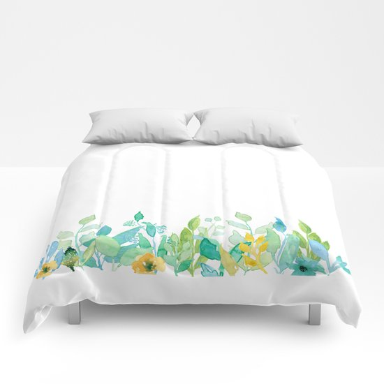 flowers in a meadow - Floral watercolor illustration on white backround Comforters