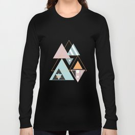 Colorful Modern Geometric Angular Pattern Block T-Shirts Long Sleeve T-shirt