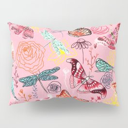 Dragonflies, Butterflies and Moths With Plants on Millennial Pink Pillow Sham