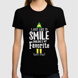 Elf I Just Like To Smile, Smiling's My Favorite T-Shirt XMAS T-shirt