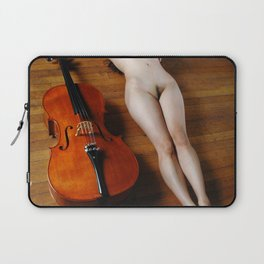 0137-JC Nude Cellist with Her Cello and Bow Naked Young Woman Musician Art Sexy Erotic Sweet Sensual Laptop Sleeve