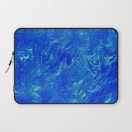 Cobalt Blue Turquoise Ochre Marbled Swirls Laptop Sleeve