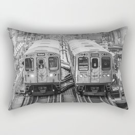 Black and White Chicago Train El Train above Wabash Ave the Loop Windy City Rectangular Pillow