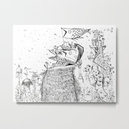 Doodle no. 2 - Happy all along my journey! Metal Print