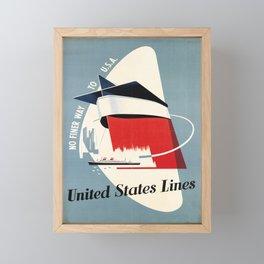 retro united states lines   no finer way to u.s.a  Framed Mini Art Print