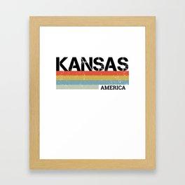 Kansas Design Gift & Souvenir For Kansas Print Framed Art Print