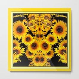 Ornate Black-Gold Sunflowers Pattern Art Metal Print