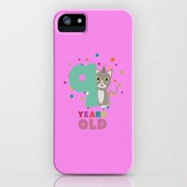 Nine Years 9th Birthday Party Cat T-Shirt Dsfzu iPhone Case