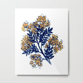 Midnight blue floral with mustard blooms – Light Metal Print